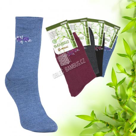Dámské klasické bambusové ponožky PESAIL 3 páry - Mix se vzorem