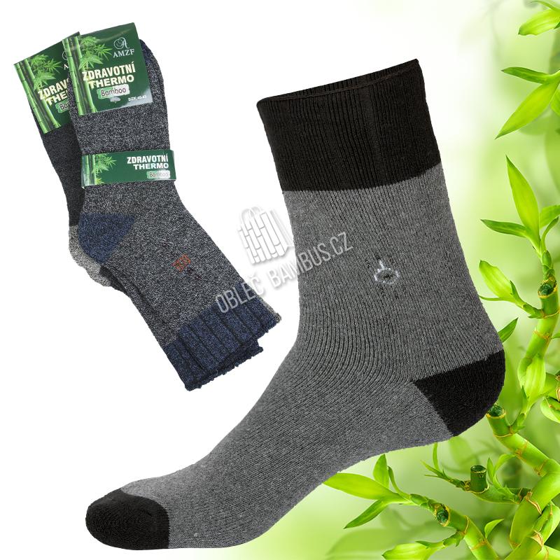 Pánské zdravotní bambusové thermo ponožky AMZF 3 páry - černobílé vzory d90cf3dbc9