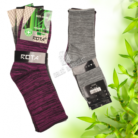 Dámské zdravotní bambusové ponožky ROTA 3 páry - mix barev