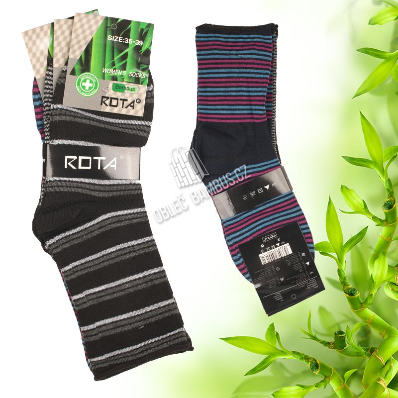 5ff34831ed1 Dámské zdravotní bambusové ponožky ROTA 3 páry - mix barev
