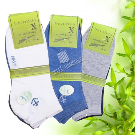 Pánské kotníkové bambusové ponožky SOXX - vzor Navy